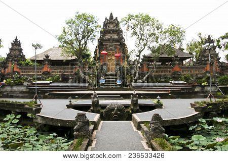 Water Lillies Growing In Saraswati Hindu Temple Ubud Bali Indonesia