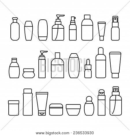 Cosmetic Bottles Signs Black Thin Line Icon Set Include Of Cream, Lotion, Shampoo, Spray And Soap. V