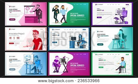 Website Design Template Set Vector. Business Project. Financial Management. Landing Page, Web, Site.