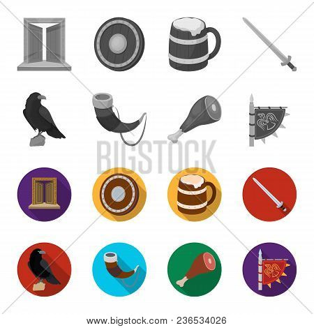 Sitting Crow, Horn With Drink, Ham, Victory Flag. Vikings Set Collection Icons In Monochrome, Flat S