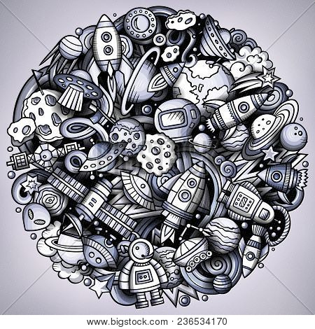 Cartoon Vector Doodles Space Illustration. Monochrome, Detailed, With Lots Of Objects Background. Al