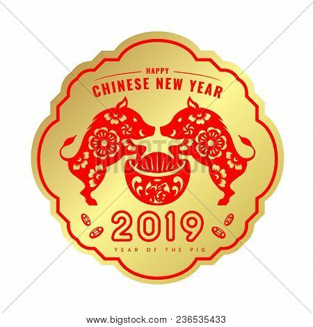 Happy Chinese New Year 2019 Banner With Red Paper Cut Twin Pig Zodiac On Money China Or Yuan Bao On