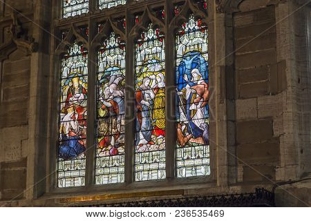 Edinburgh, Great Britain - September 10, 2014: This Is Fragment Of The One Of The Oldest Stained Gla