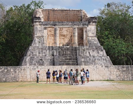 Chichen Itza, Mexico North America On February 2018: Ancient Ruins Of Great Ball Court Buildings, Mo