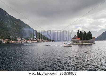 Perast, Montenegro - September 13, 2013: It Is View Of St. George Island And Seaside Town.