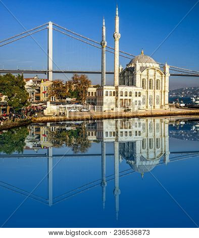 Ortakoy Mosque. White Famous Mosque In Istanbul.