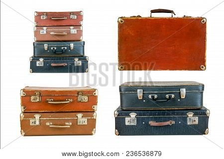Collage Of Retro Travel Suitcases Isolated On White. Set Of Old Suitcases. Brown And Black Retro Sui