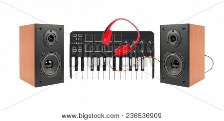 Music And Sound - Two Line Array Loudspeaker Enclosure Cabinet, Midi Keyboard And Red Headphone Isol
