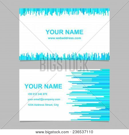 Business Card Template Design Set - Vector Name Card Graphic With Rounded Stripes In Light Blue Tone