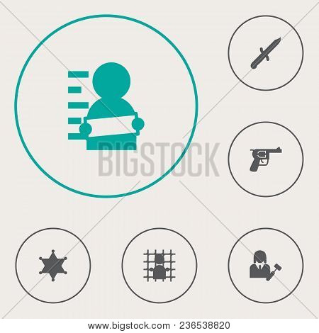 Set Of 6 Criminal Icons Set. Collection Of Gun, Police Badge, Knife And Other Elements.