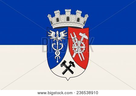 Flag Of Oberhausen Is A City On The River Emscher In The Ruhr Area, Germany. Vector Illustration