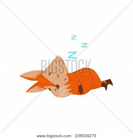 Cute Cartoon Red Fox Character Sleeping On The Floor Vector Illustration Isolated On A White Backgro