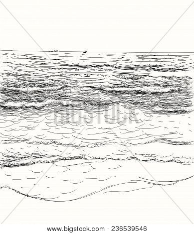 Vector Summer Seascape Sketch. Seaside View And Beach