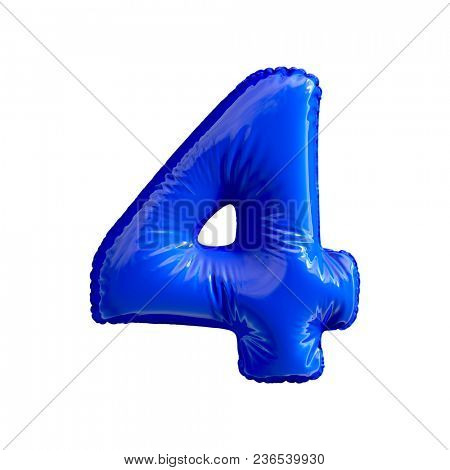 Number 4 (four) of blue balloons on a white background. 3d rendering