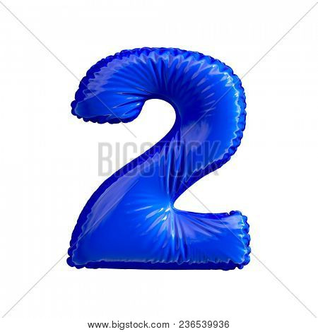 Number 2 (two) of blue balloons on a white background. 3d rendering