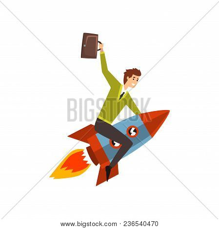 Businessman On A Rocket, Successful Start Up Business Project, Development Process Vector Illustrati