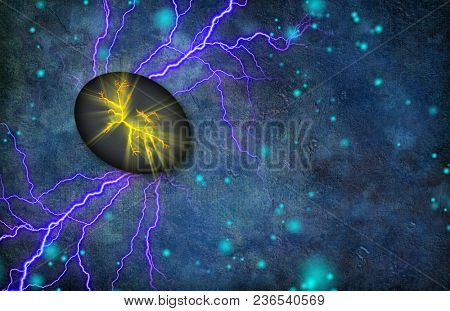Cracked Stone Emits Light and Radiates Electricity. 3D rendering