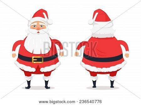 Showing Different Sides Of Santa Claus On White. Man In Red Warm Red Holiday Costume With Beard. Vec