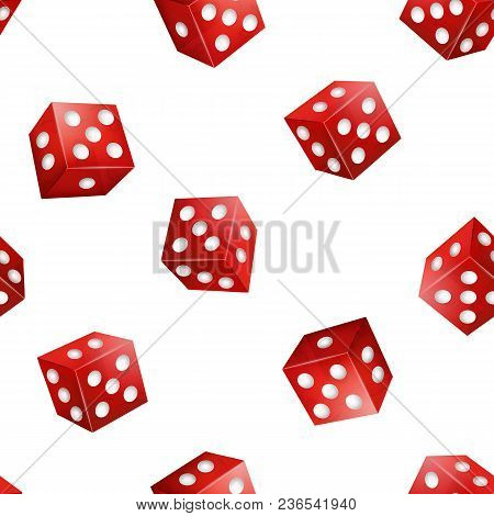 Realistic 3d Two Red Casino Dice With Dot Seamless Pattern Background On White Symbol Of Gambling Ga
