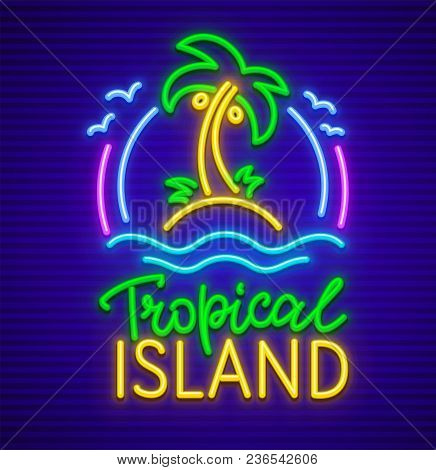 Tropical Island Neon Sign With Palm Tree. Neon Icon Made Of Lamps With Illumination. Sea Waves On Sa
