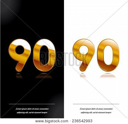 90 - Year Anniversary Black And White Cards Tamplate. Vector Illustration.