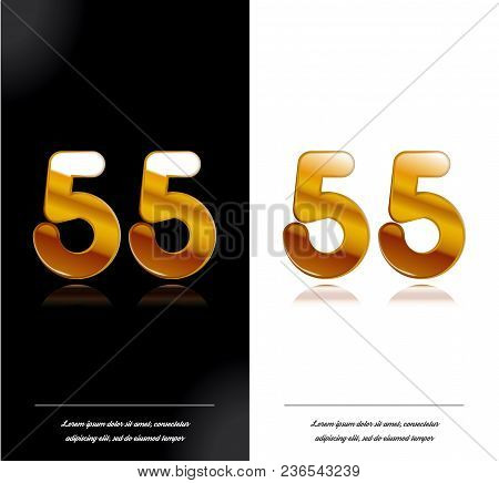 55 - Year Anniversary Black And White Cards Tamplate. Vector Illustration.