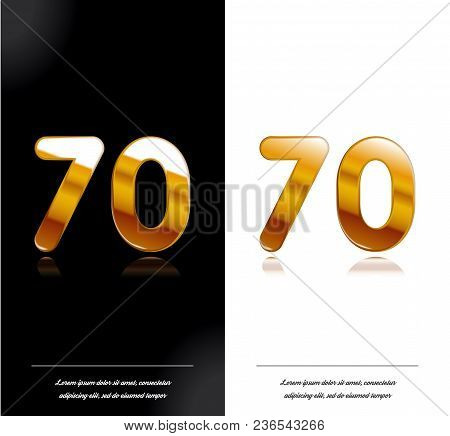 70 - Year Anniversary Black And White Cards Tamplate. Vector Illustration.