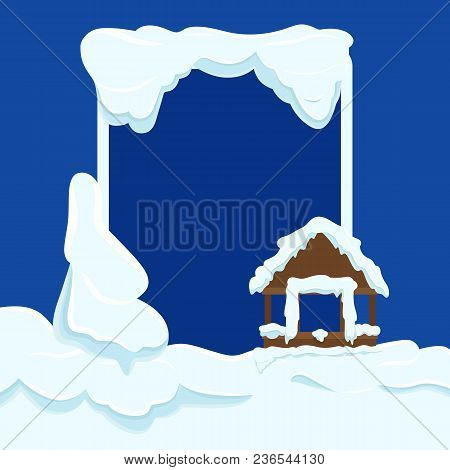 Wooden Garden House Wall With Window Without Glass Covered With Snow. Big Frame Near Brown Hut Wall,