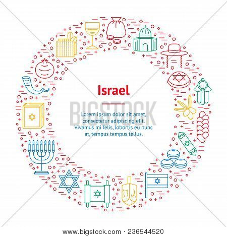 Symbol Of Israel Thin Line Banner Card Circle Style Design Element Travel Religion. Vector Illustrat