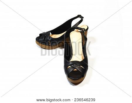 Pair Of Luxury Woman Black High-heel Shoes, Slingback Shoes, Chunky Heel Shoes, Isolated On White Ba