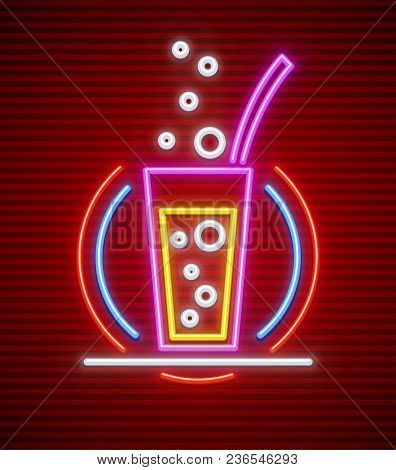 Cocktail Bar. Neon Sign. Glass With Carbonated Drink And Tube Made Of Neon Lamps With Illumination I
