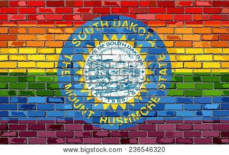 Brick Wall South Dakota And Gay Flags - Illustration, Rainbow Flag On Brick Textured Background,  Ab