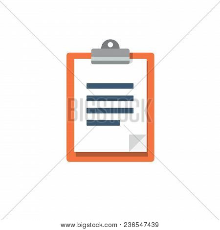 Clipboard, Vector Icon. Paper, Document, Note. Modern Trendy Flat Style.