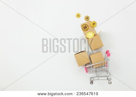 Table Top View Aerial Image Of Business Finance Background.flat Lay Coin Money & Shopping Cart Or Tr