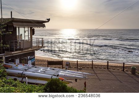 Durban, South Africa, April 9 - 2018:  View Out To Sea With Lifeguard Building In Left Corner And Se