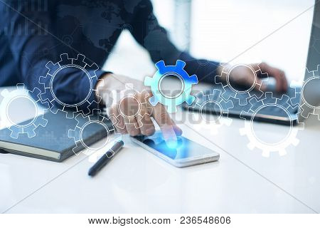 Gears On Virtual Screen. Business Strategy And Technology Concept. Automation Process