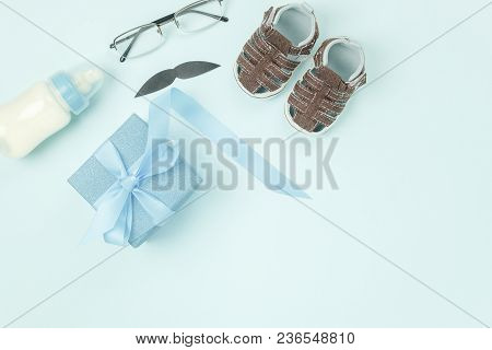 Table Top View Decorations Happy Fathers Day Holiday Background Concept.flat Lay Gift Box For Dad Wi