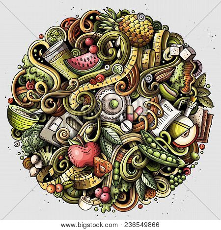 Cartoon Vector Doodles Diet Food Round Illustration. Colorful, Detailed, With Lots Of Objects Backgr