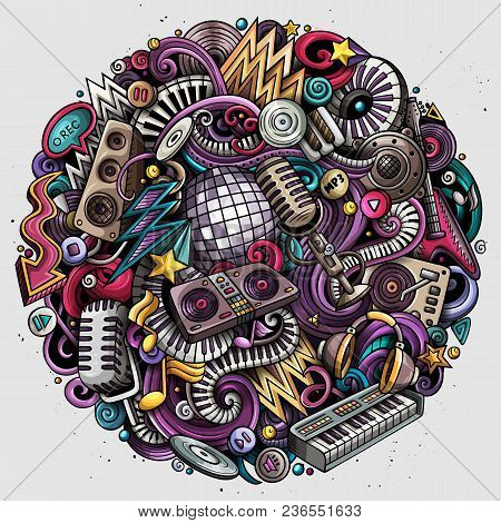 Cartoon Vector Doodles Disco Music Round Illustration. Colorful, Detailed, With Lots Of Objects Back