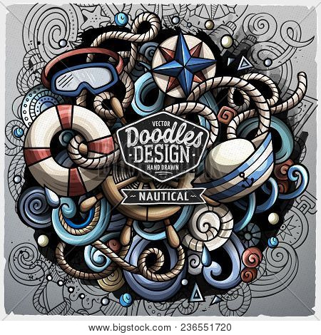 Nautical Cartoon Vector Doodle Illustration. Colorful Detailed Design With Lot Of Objects And Symbol