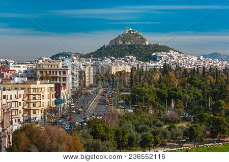 Aerial City View With Mount Lycabettus In Athens, Greece
