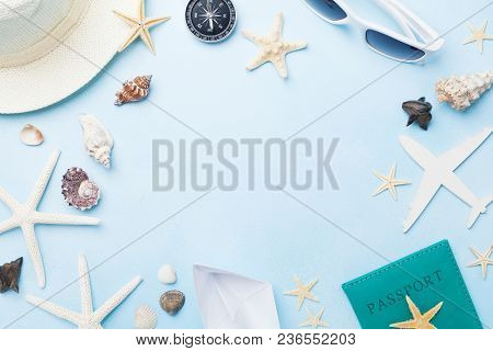 Summer Holidays, Vacation, Travel And Tourism Frame From Sunglasses, Hat, Passport, Airplane And Boa