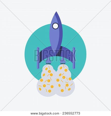Vector Illustration. Eps 10. Rocket, Spaceship And Bitcoin Icon Color. Rocket Ship Bitcoin Is Flying