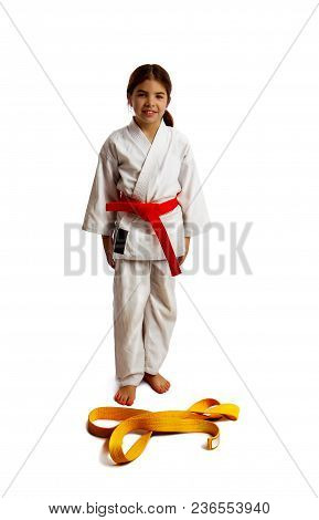 Girl Karateka Successfully Passed The Certification And Moves To A New Level Having Received A Belt