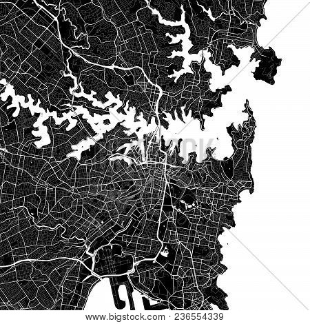 Area Map Of Sydney, Australia. Dark Background Version For Infographic And Marketing Projects. This