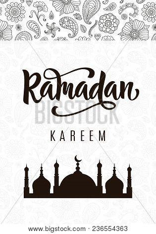 Ramadan Kareem Greeting Poster With Hand Written Brush Calligraphy And Mosque Silhouette. Beautiful