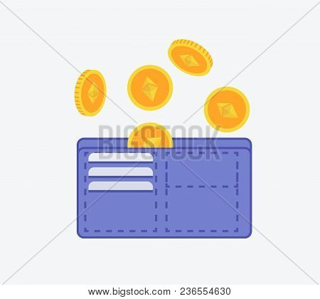 Etherium Wallet Icon Sign With Etherium Coins Falling In Wallet Flat Design