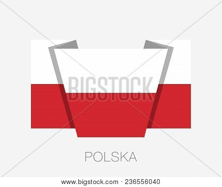Flag Of Poland. Flat Icon Waving Flag With Country Name Written In Polish