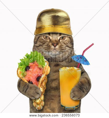 The Cat In A Golden Cap Holds A Glass Of Juice And The Smoked Salmon With Bubble Waffles. White Back
