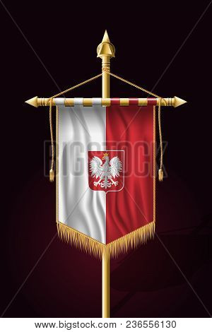 Flag Of Poland With Eagle. Festive Vertical Banner. Wall Hangings